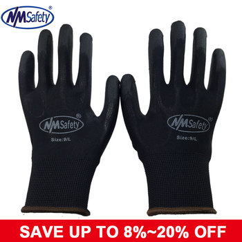 NMSAFETY 12 pairs Легкость удобно черный полиэстер/нейлон дешевые безопасности, рабочие перчатки