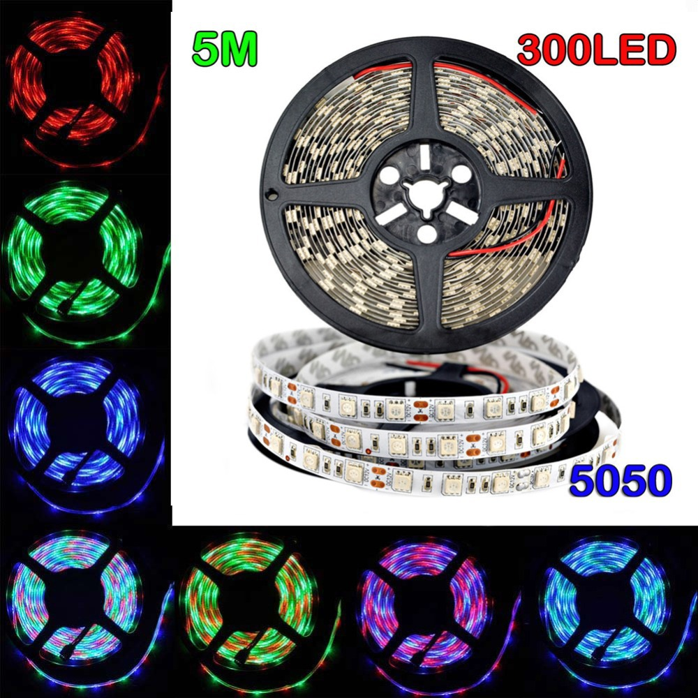 5m/Roll 5050 RGB LED Flexible Strip light 30LED/M Non-Waterproof For CAR/House decoration(China (Mainland))