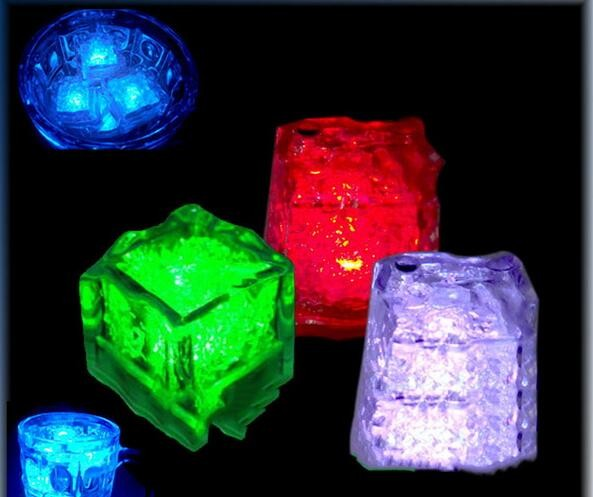 24PCS/lot 2016 new Mini LED Party Lights Square Color Changing LED ice cubes Glowing Ice Cubes Blinking Flashing Novelty Party(China (Mainland))