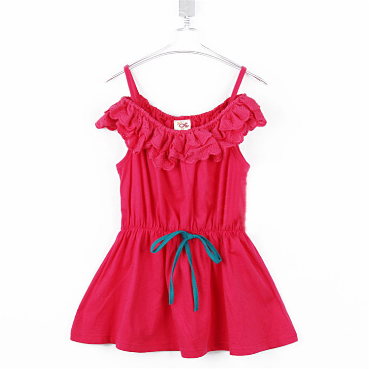 2015 summer ruffle collar girls clothing baby short-sleeve dress tank dress A0530(China (Mainland))