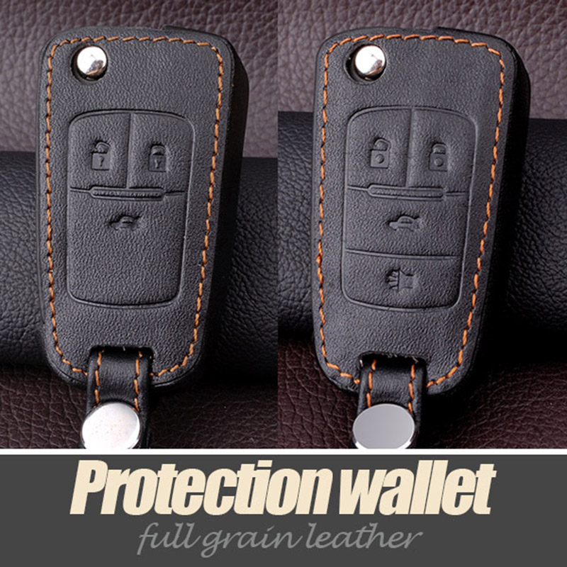 Genuine Leather Keychain Car Key Cover Case Holder Wallet Bag For Chevrolet Cruze Accessorie Cruzeiro Malibu Key Protection Case(China (Mainland))