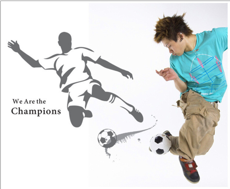 2015 New The World Cup Large Soccer Ball Football Wall Sticker For Boys Bedroom Decor Wall Art Decals Sport Poster 120*110cm(China (Mainland))