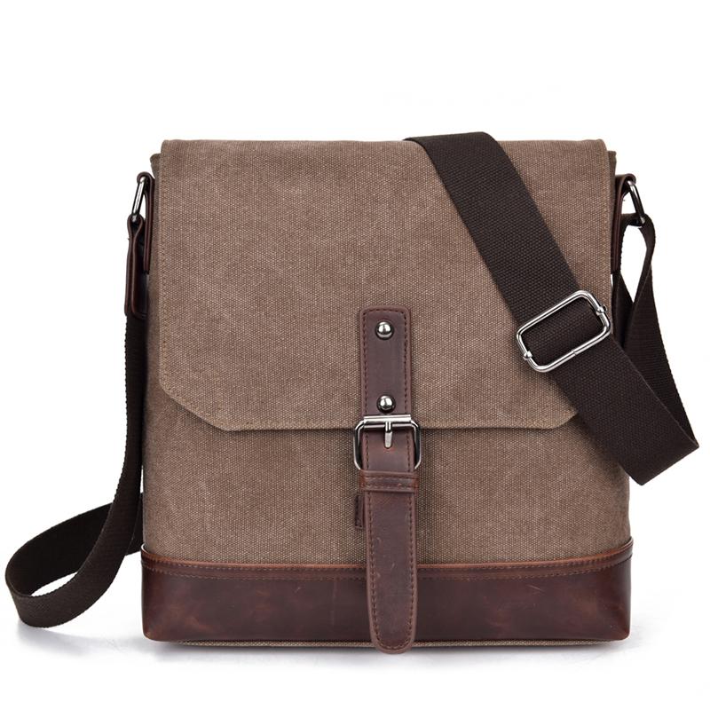 Canvas+Crazy Horse Leather Vintage Bag New Men Messenger Bags Men Shoulder Crossbody Bags for Man Small Bag Designer Handbag(China (Mainland))