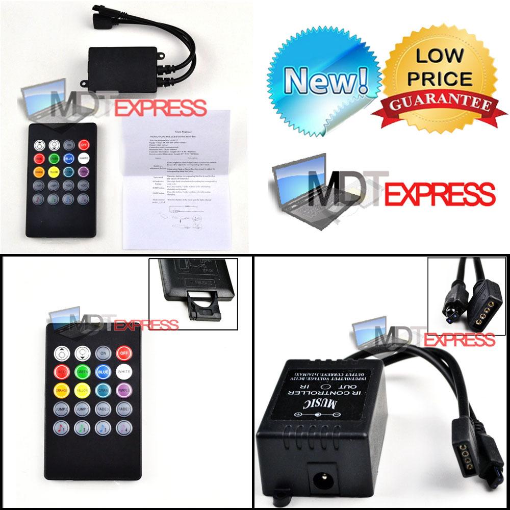 New! 12V 6A 20 Key 20key IR Infrared Music RGB Remote Sound Sensor Control Controller for 3528 5050 LED Strip Lights BLACK(China (Mainland))