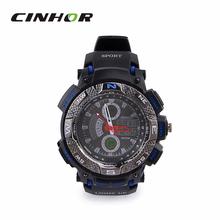 Ohsen AD1310 del deporte de hombre analógico + Digital cuarzo reloj de pulsera negro + Deep Blue ( 1 x CR-2025 )