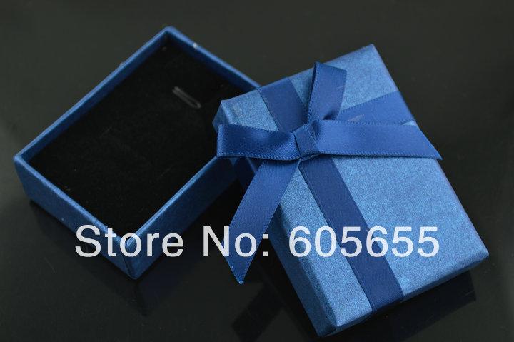5x7cm Royal Blue Pendant Boxes Paper Gift Box Black Soft Cotton inside Bowknot Ribbon 20pc per lot(China (Mainland))