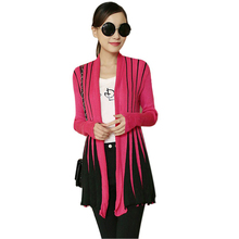 New Knitted Cardigan Women Sweater Open Front Stripe Long Sleeve Slim Cardigan Outerwear Casual Knitwear Pull Femme Black/Rose(China (Mainland))