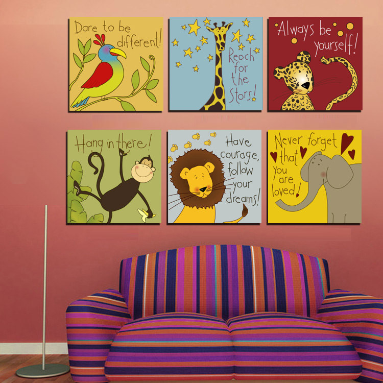 6 piece cartoon animal canvas painting printings modern wall art decorative picture for kids - Modern kids wall decor ...