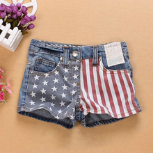 2016 New Baby Girls Shorts Jeans Summer Fashion Flag Design Cotton Clothes Toddler Girl Clothing Denim Kids Shorts for Girls(China (Mainland))