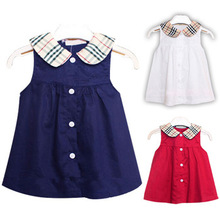 New baby girl clothing plaid princess dress red babi dresses fashion style summer clothes infant sundress blue cotton party wear(China (Mainland))