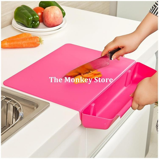2 In 1 Creative Foldable Cutting Board With Storage Basket Box For Kitchen Tool Cooking Tool F1550