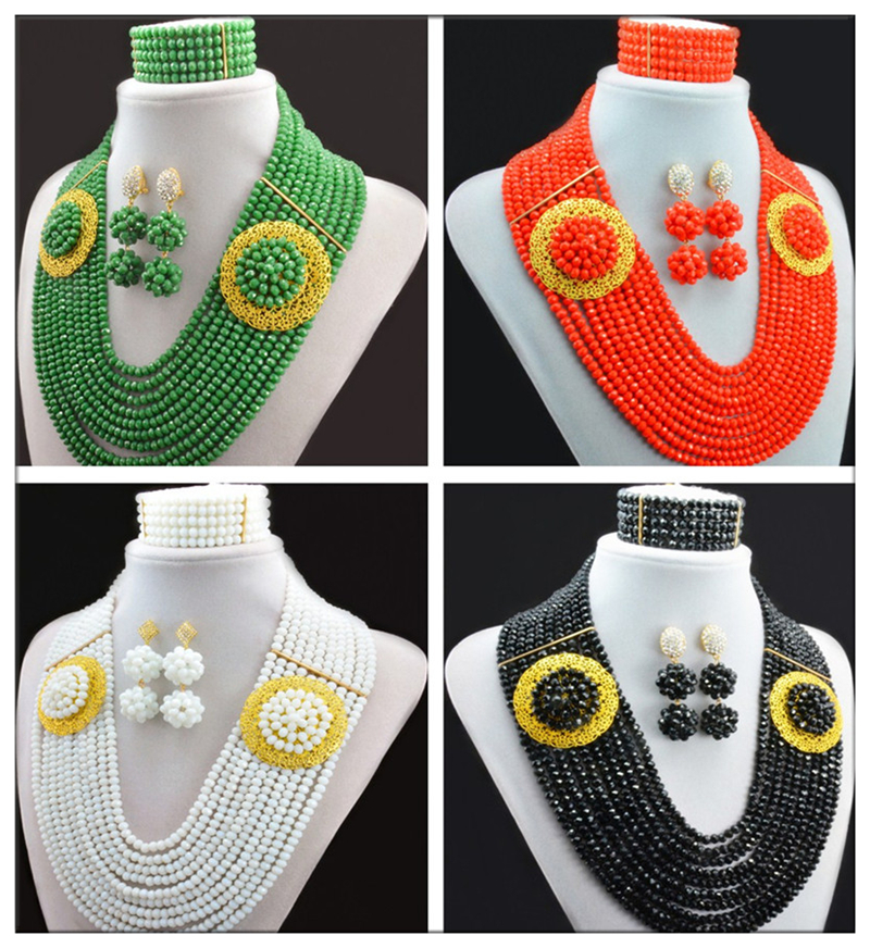 Fashionable! Nigerian Wedding African Beads Jewelry Set Crystal Coral color mixed gold champagne drop earrings NC1888<br><br>Aliexpress