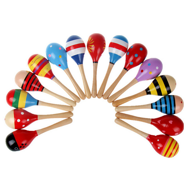 1Pc Hot Sale Baby Toys Wooden Toy Rattle Cute Mini Baby Sand Hammer Maracas Musical Instrument Toys For Kids(China (Mainland))
