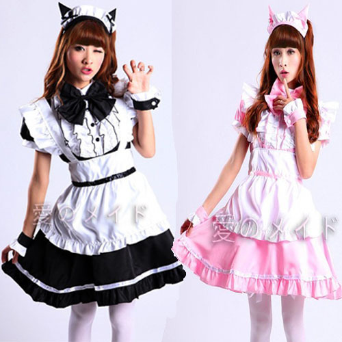 Newest Cosplay Sexy black Beer Lolita cat Maid Outfit Costume Party dress Set apron pink free shipping(China (Mainland))