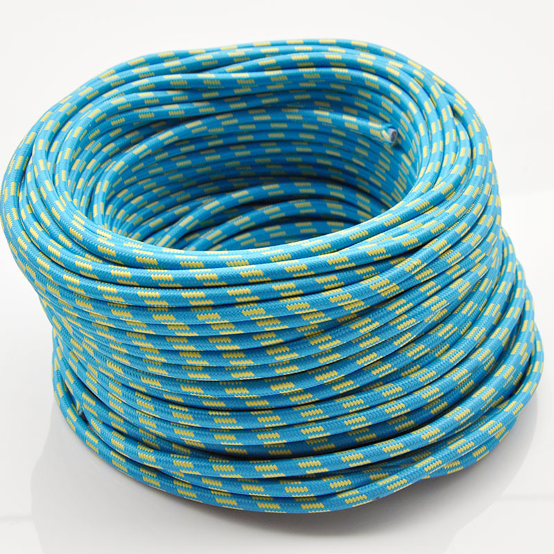 2*0.75MM 20M Vintage Blue+Yellow Stripe knitted cloth electrical wire copper conductor retro electrical wire pendant lamps cable(China (Mainland))