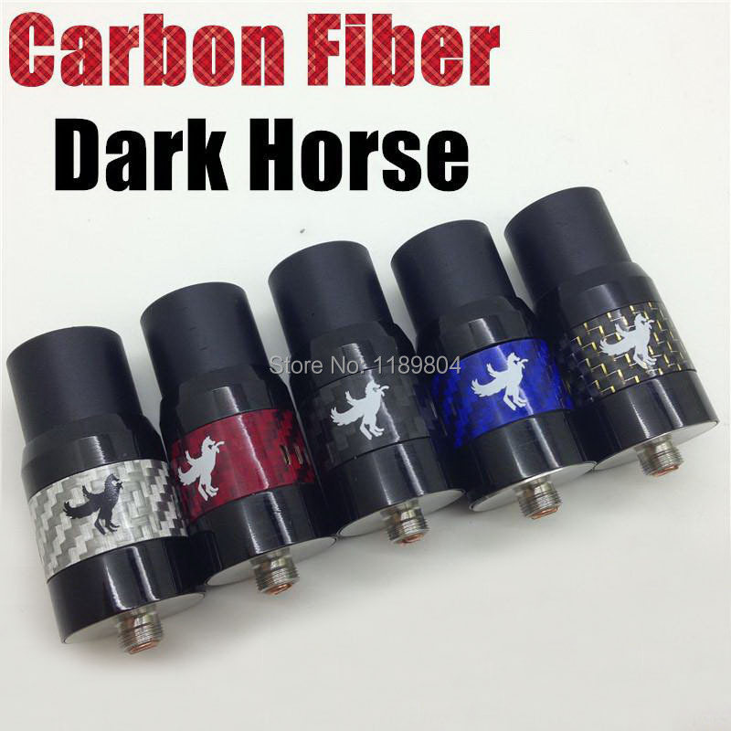10PCS/LOT the newest Carbon Fiber Dark Horse RDA Rebuildable Atomizer 22mm diameter vs derringer BAAL little boy free ship(China (Mainland))