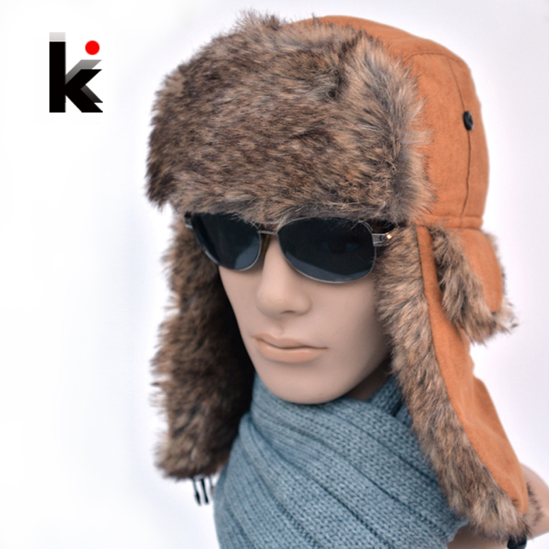 Free shopping 2016 High Quality winter man aviator hats Russian Hat sport outdoor ear flaps bomber lei feng caps for men