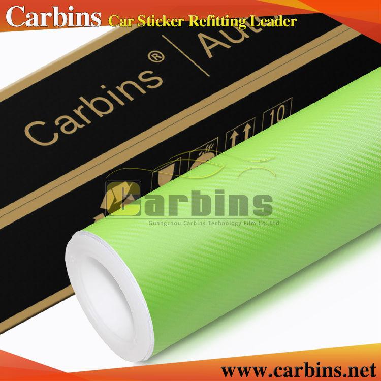 Apple green 3D carbon fiber vinyl car wraps 3m vinyl quality(China (Mainland))
