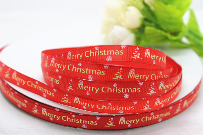 wholesale 100Yards 3/8 9-10mm red christmas style printed grosgrain ribbon(China (Mainland))
