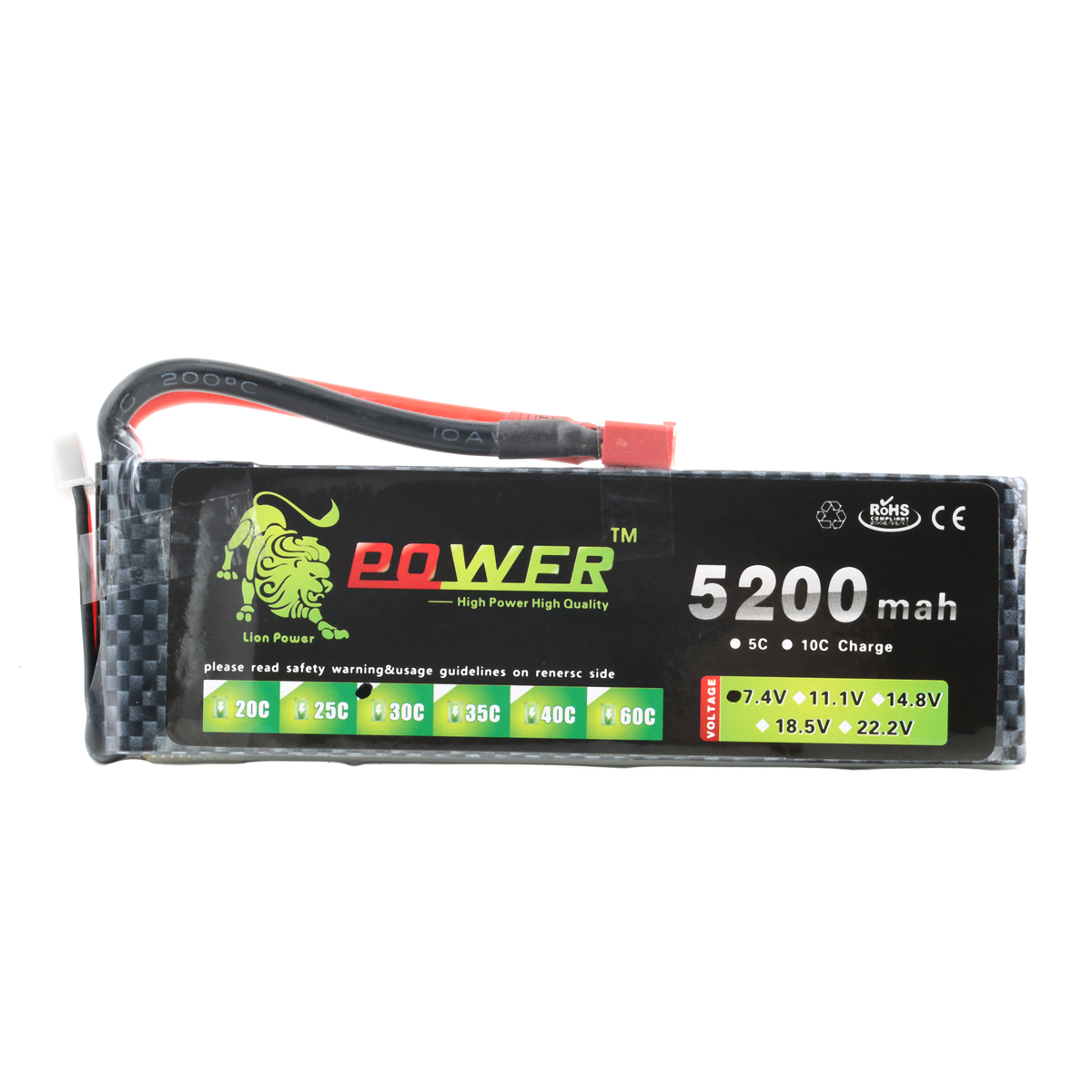 Lion Power 7.4V 5200mAh 30C Rechargeable Lipo Battery for RC Car Boat Airplane Helicopter<br><br>Aliexpress