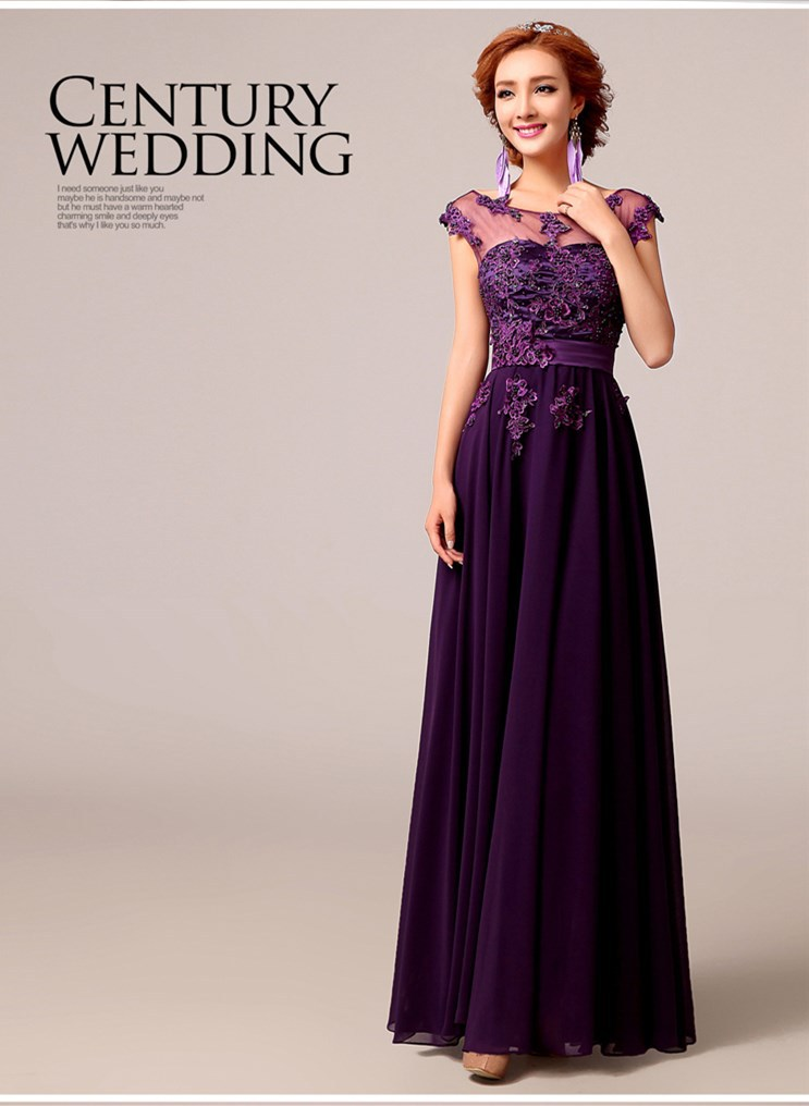 Aliexpress Buy Elegant Purple Bride Wedding Dress And Long Bridesmaids Dress Long Design