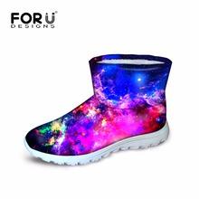 Forudesigns botas para la nieve de invierno acolchados mujeres galaxy star, caliente mujer botines de piel botas de plataforma tamaño de los zapatos 35-40 espacio snowboots(China (Mainland))