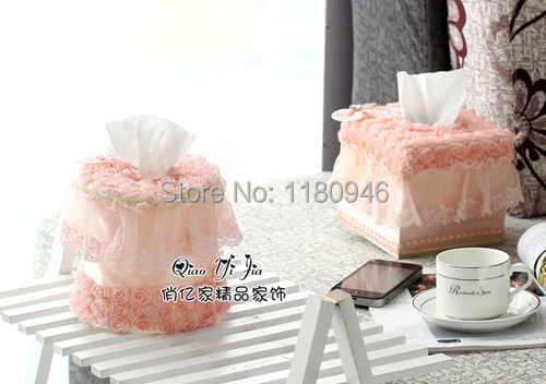 rose tissue box roll paper box towel tube flower and lace pattern home car decoration free shipping(China (Mainland))