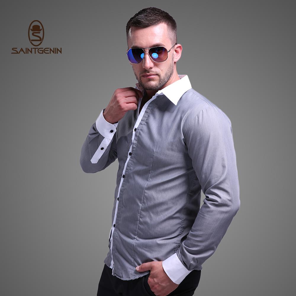 SainTgenin Men Solid Fashion Casual Shirts Turn-down Collar Regular Sleeve shirt Anti-Pilling Anti-Sweat Cotton Polyester Shirt(China (Mainland))
