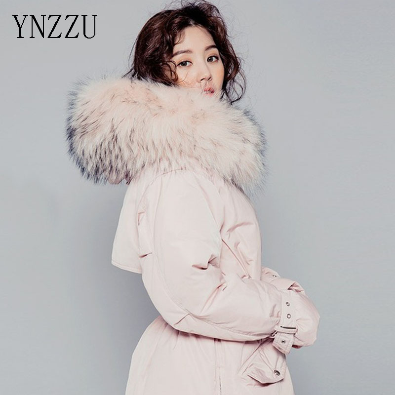 New 2016 Korean Down Coat Mid-Long Pink Large Real Fur Collar Warm Spring Winter Women Jackets female outer wears coats AO001(China (Mainland))