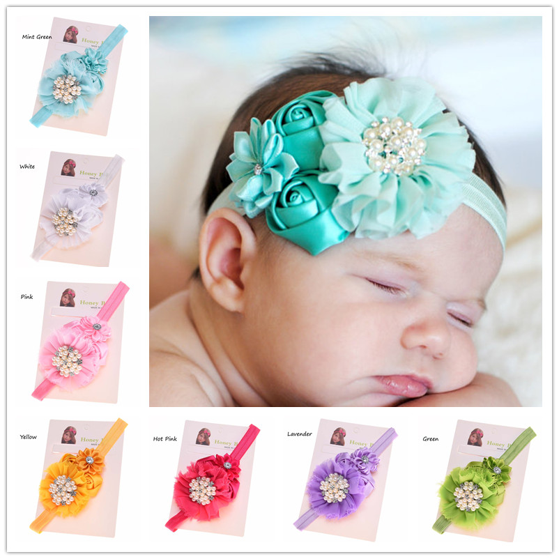 1PCS Satin flower Rosette flower headband High Quality Hair Bow Accessories Cheap Headband Hair Bows Baby Shower Gift(China (Mainland))