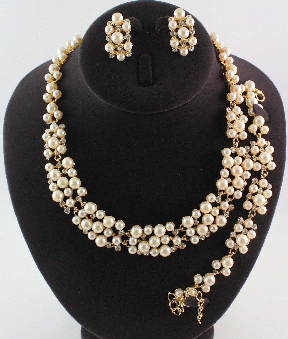 Bridal Party Jewelry Gift Sets : Jewelry Rhinestone Pearl Necklace Bracelet Earrings Sets Wedding Party ...