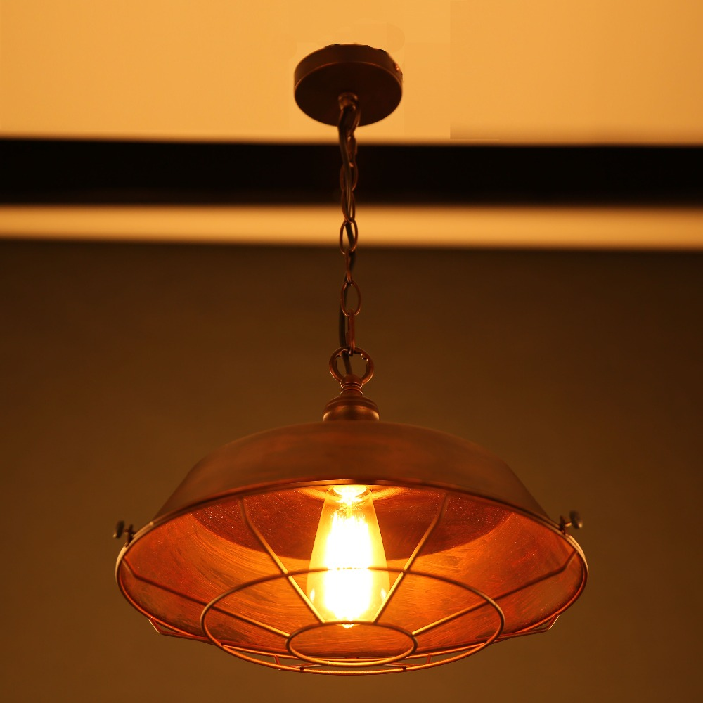 Vintage pendant lamp / Simple vintage brown iron cover lamp For Kitchen Lights Cabinet Living/dining room shop/cafe/bar/office(China (Mainland))