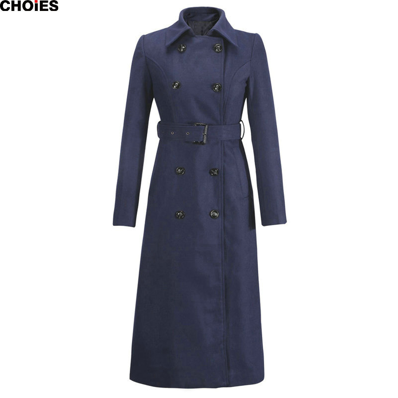 Three Colors Green Turn Down Collar Double Breasted Belted Waist Longline Slim Wool Coat 2015 Fall Winter Warm Casual Outwear