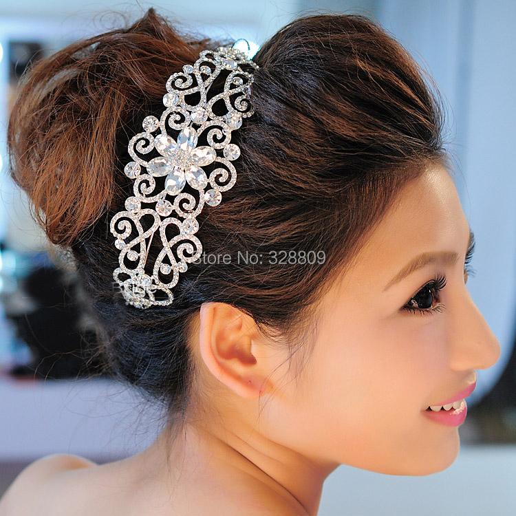 2016 New Trendy Crystal Bridal Tiara Silver Ladies Headband Noble Rhinestone Diadem for bride Wedding hair jewelry Accessories(China (Mainland))