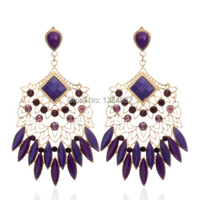 Hot Sell New 2014 Sexy style Vintage Earings acrylic Elegant Austrian rhinestone big fashion drop earrings Free shipping(China (Mainland))