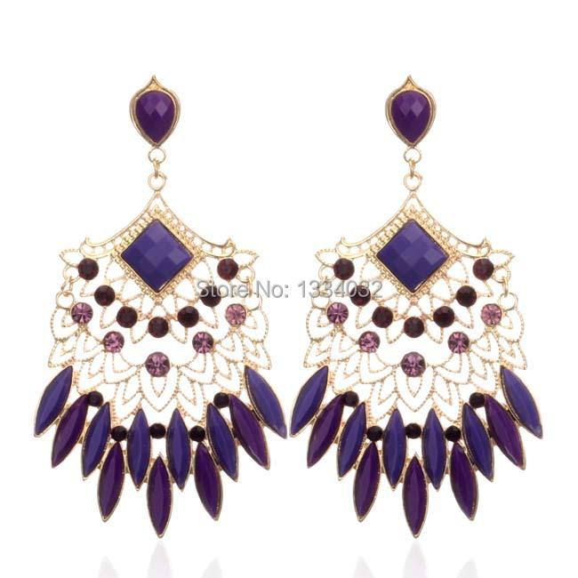 Hot Sell New 2014 Sexy style Vintage Earings acrylic Elegant Austrian rhinestone big fashion drop earrings Free shipping(China (Mainland))