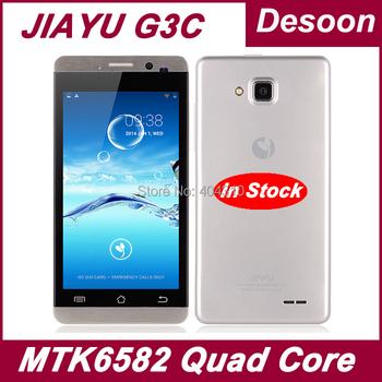 "Free Shipping Jiayu G3 G3c cell phones MTK6582 Quad Core 4GB ROM +1GB RAM 4.5"" 8MP Gorilla Glass Black Silver Russian/ Koccis"