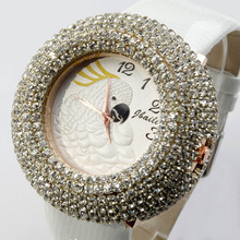 WH109 Japan Movt Ladies Leather Band Watch Fashion Jewelry Simulated Diamond Parrot Quartz Wristwatches For Women