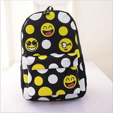 2015 FASHION Priting Canvas Smiley School Bag Casual Children Smile School Bags For Teenagers Women's Mini Smile Book Bag Kids