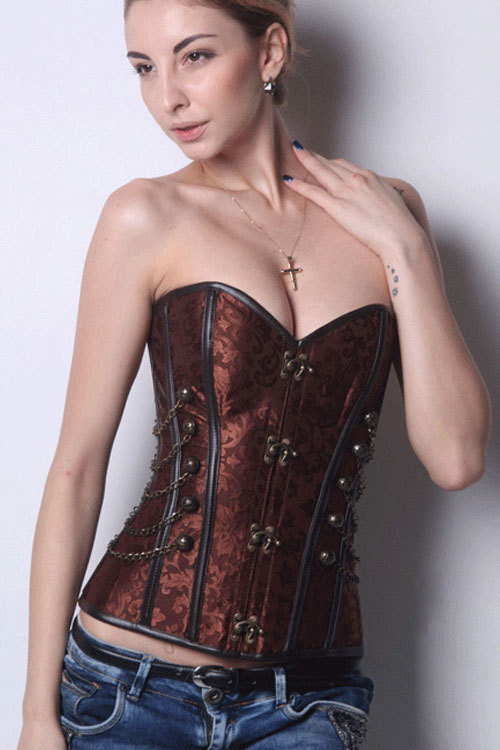 sexy corselet bustier corset plus size corset top Brown Steampunk Boned sexy corset with Chain Stud Detail dress corset(China (Mainland))