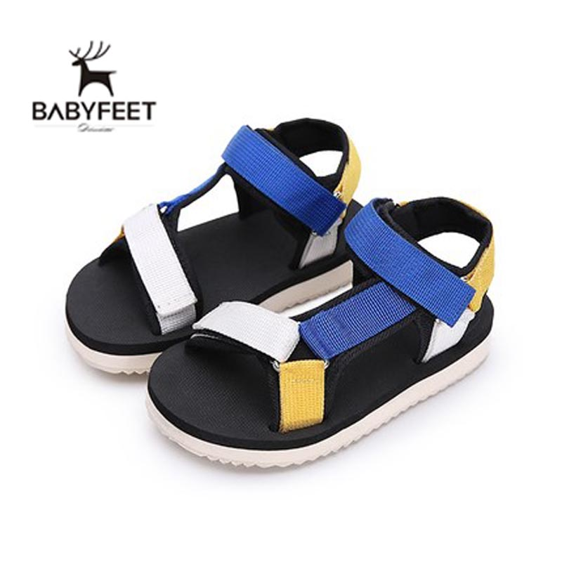 2017 Babyfeet New In Baby Boy Sandals Mixed colors Blue Black Yellow Clogs Soft Sole Infant Toddler Beach Flat Shoes Light(China (Mainland))