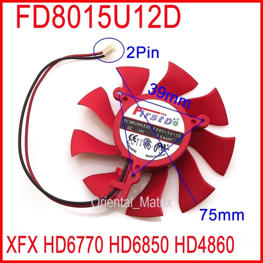 Firstd FD8015U12D DC BRUSHLESS FAN 12V 0.5A 75mm 39x39x39mm For XFX HD6850 HD4860 HD6770 Graphics/Video Card Fan 2Pin(China (Mainland))