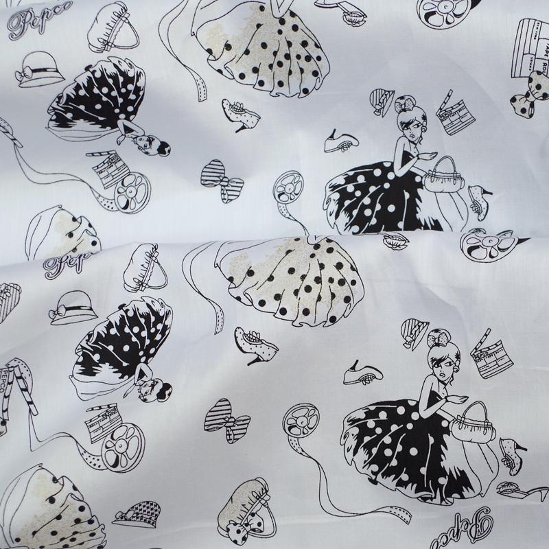 135cmx100cm Soft Cotton Twill Fabric for cloth, shirt, Skirt - princess,bag,bow,cat,shoes(black skirt)(China (Mainland))