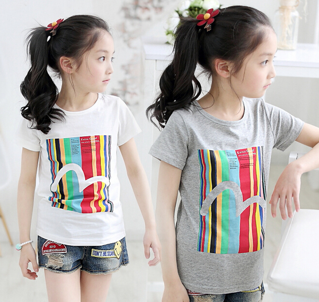 Summer Style T-Shirts Childrens Place Girl Letter Printed Shirt Girls Short Sleeve T-Shirts 4-12Y Kids T Shirt Clothes for Girl(China (Mainland))
