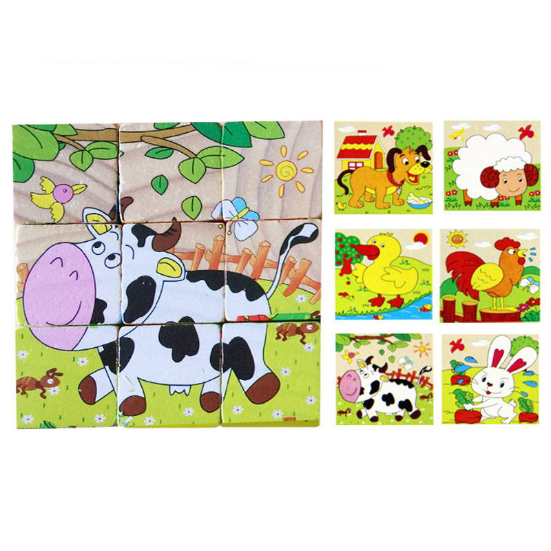 Best seller Free Shipping Fashion Wooden Educational Developmental 6-Sided Puzzle Toy Farm Animals Mar7(China (Mainland))