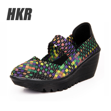 HKR 2016 Summer women platform sandals Shoes women Woven shoes Flat Shoes flip flops women multi colors ladies shoes 889(China (Mainland))