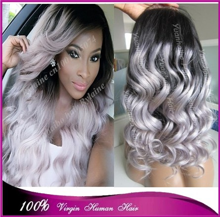 Hot selling top quality virgin brazilian hair loose wave silver grey hair ombre two tone color front lace wig free shipping(China (Mainland))