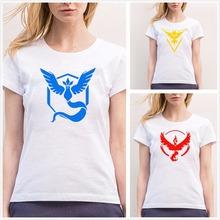 Fashion Pokemon Go Team Valor Team T Shirt Womens Mystic Team Instinct Pokeball Woman T-shirt Tops Harajuku Short Sleeve Shirts
