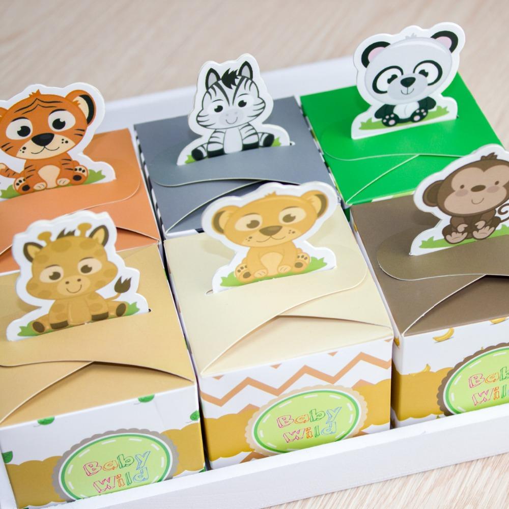 12pcs baby shower favors safari animal wild favor box candy box