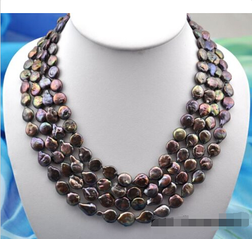 4row 20 11mm coin black freshwater pearl necklace^^^@^Noble style Natural Fine jewe FREE SHIPPING<br><br>Aliexpress